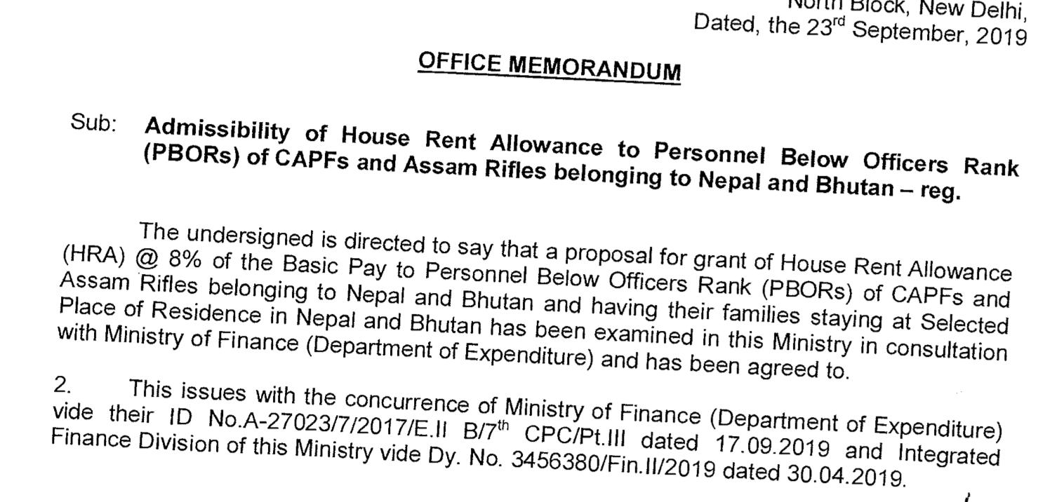 8% HRA for PBORs - Nepal and Bhutan
