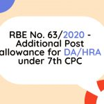 RBE No. 63_2020 - Additional Post allowance for DA_HRA under 7th CPC