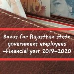 Bonus for Rajasthan state government employees -Financial year 2019-2020