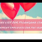 Holiday list for Telangana Central Government employees for the year 2021