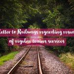 AIRF letter to Railways regarding resumption of regular trains services