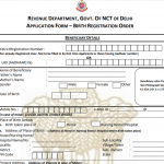 Download Birth Certificate form for the National Capital Territory of Delhi